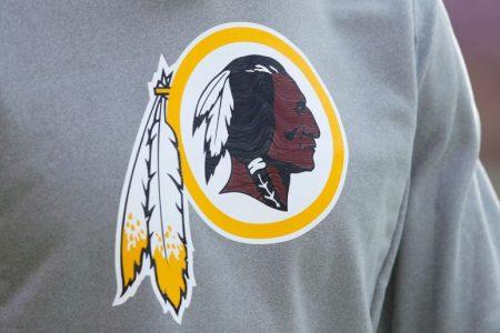 The Washington logo on the shirt of a player in 2018. (Joe Robbins/Getty)