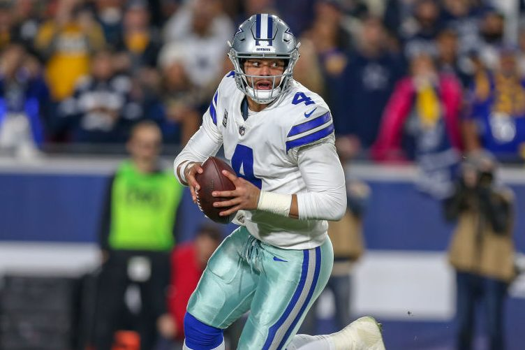 Dallas Cowboys quarterback Dak Prescott rolls out of the pocket. (Jordon Kelly/Icon Sportswire via Getty)
