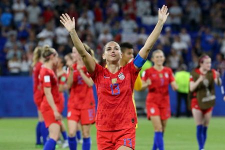 Alex Morgan of USA celebrates after match between England and the USA. (Jean Catuffe/Getty)