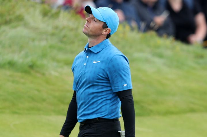Rory McIlroy reacts on the 10th hole during day one of The Open Championship. (David Davies/PA Images via Getty)