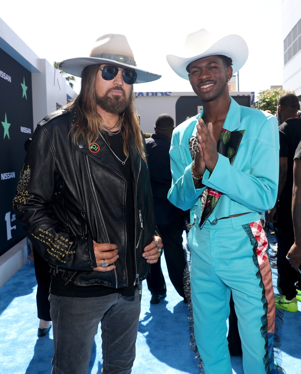 LOS ANGELES, CALIFORNIA - JUNE 23: Billy Ray Cyrus (L) and Lil Nas X attend the 2019 BET Awards at Microsoft Theater on June 23, 2019 in Los Angeles, California. (Photo by Johnny Nunez/Getty Images)
