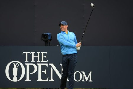 Rory McIlroy practicing at the 148th Open Championship. (Ross Kinnaird/R&A/R&A via Getty)