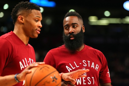 Russell Westbrook and James Harden have been reunited in Houston. (Photo by Elsa/Getty Images)