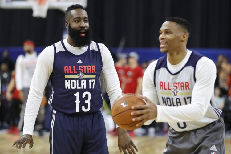 James Harden talks with Russell Westbrook at practice for the 2017 NBA All-Star Game. (Ronald Martinez/Getty Images)
