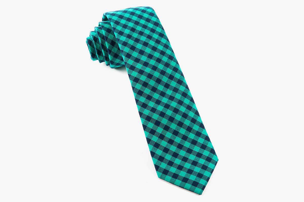 Caribbean Teal Gingham Shade Tie