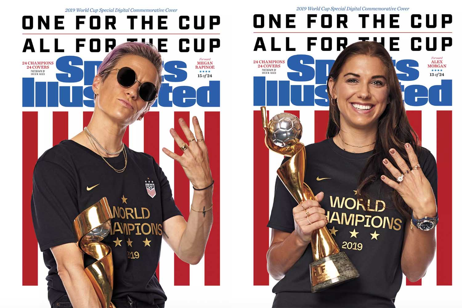 Megan Rapinoe and Alex Morgan's SI covers. The two combined for 12 of the USA's 26 goals in France.