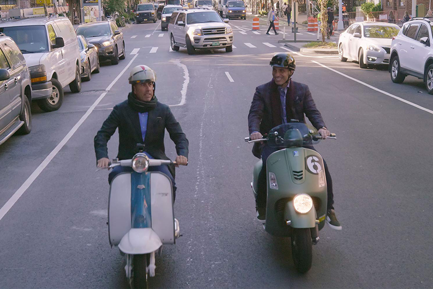 Comedians in Cars Getting Coffee Italian Scooters Lambretta Vespa