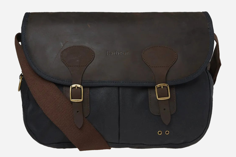 Barbour Navy Wax Leather Tarras Shoulder Bag Discount