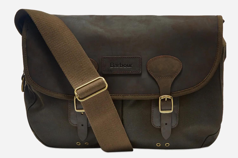 Barbour Olive Wax Leather Tarras Shoulder Bag Sale