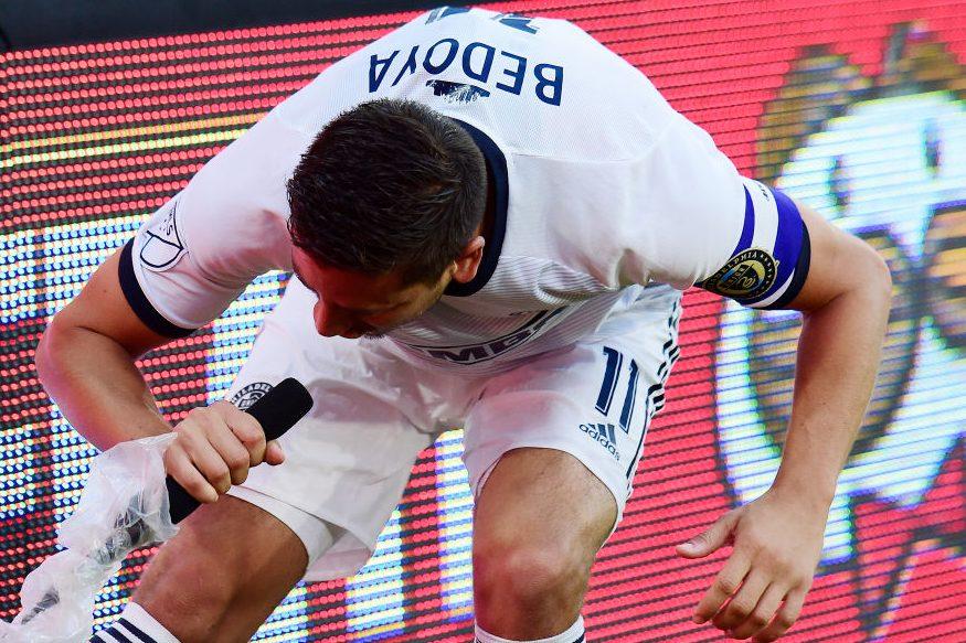 Alejandro Bedoya Yells into Microphone