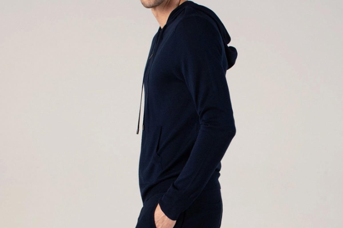 Naadam Men's Silk Cashmere Zip Hoodie