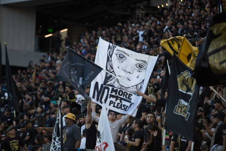 Supporters at LAFC game