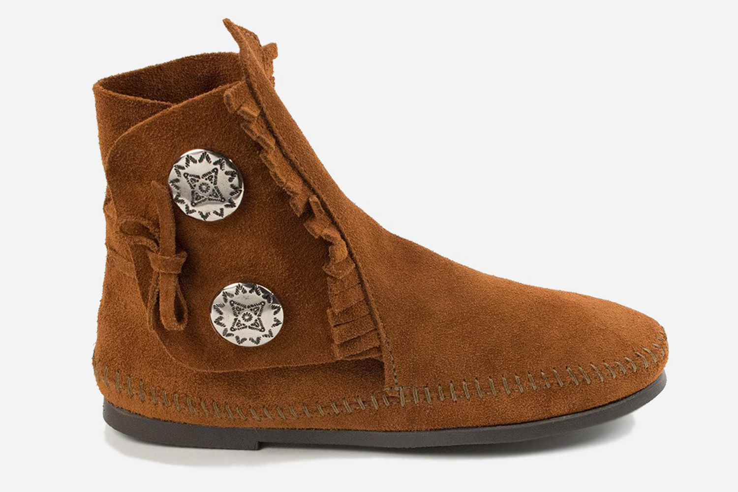 """Brad Pitt's Boots Two Button Hardsole Minnetonka Moccasin From """"Once Upon a Time in Hollywood"""""""