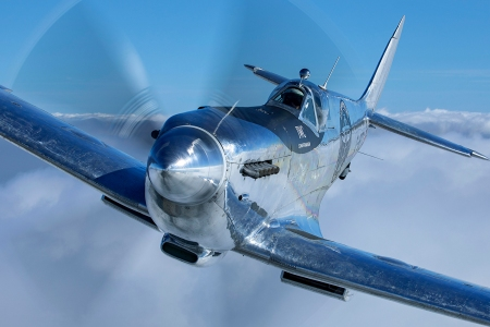 Silver Spitfire WWII Airplane