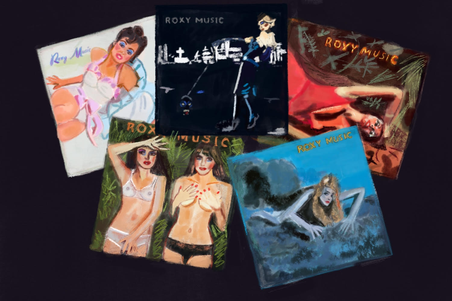 Roxy Music s/t, Stranded, Country Life and other 1970s album covers