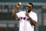 David Ortiz addresses the crowd before the game between the Red Sox and Yankees. (Maddie Meyer/Getty)