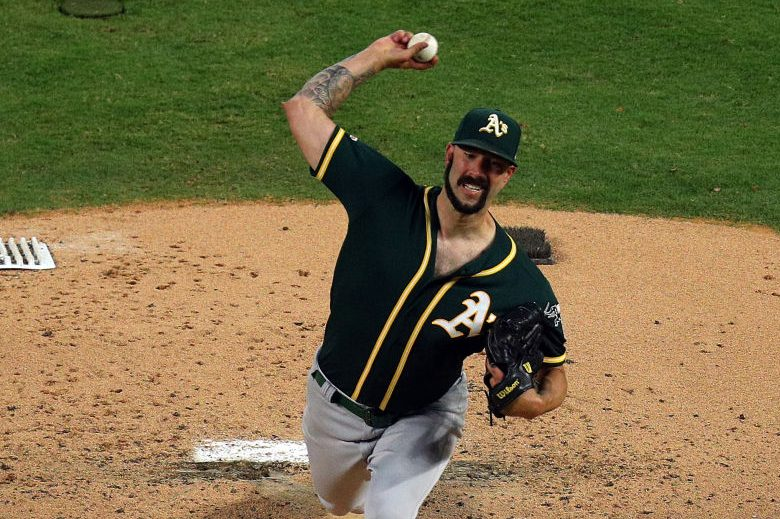Mike Fiers of the Oakland Athletics pitches against the Texas Rangers in the second inning at Globe Life Park in Arlington on September 14, 2019 in Arlington, Texas. (Photo by Richard Rodriguez/Getty Images)