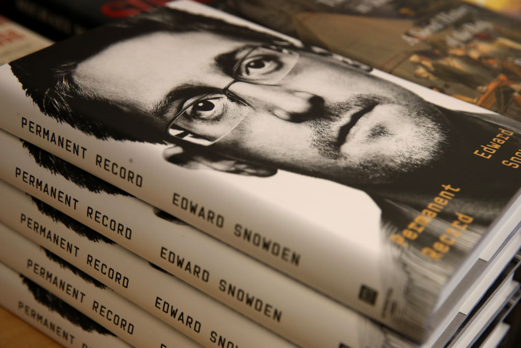 "Newly released ""Permanent Record"" by Edward Snowden is displayed on a shelf at Books Inc. on September 17, 2019 in San Francisco, California. (Photo by Justin Sullivan/Getty Images)"