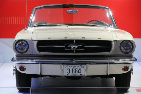The first Ford Mustang off the line was supposed to be a display model only, but was bought by a pilot in Newfoundland, he traded it with Ford two years later for Ford Mustang number 1,000,001. (Steve Russell/Toronto Star via Getty Images)