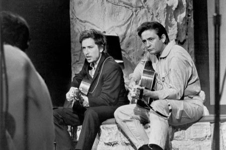 Bob Dylan and Johnny Cash perform together on 'The Johnny Cash Show' on June 7, 1969 in Nashville, Tennessee. (Photo by Michael Ochs Archives/Getty Images)