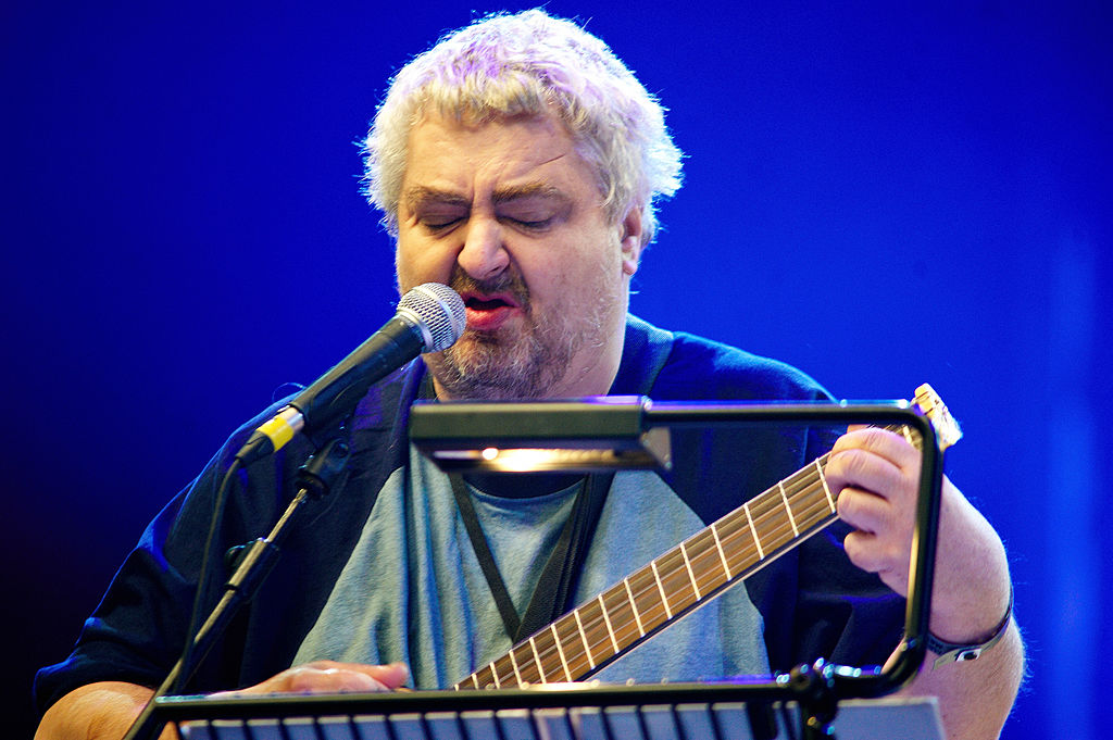 Daniel Johnston performs on stage during day three of All Tomorrow's Parties Festival at Butlins Holiday Centre on May 9, 2010 in Minehead, England. (Photo by Gary Wolstenholme/Redferns)
