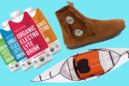 NOOMA Sports Drink, Minnetonka Moccasin Two Button Hardsole Boots and Oru Kayak Inlet