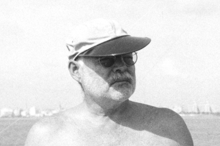 Ernest Hemingway in a Quaker Marine Supply Oysterman Hat
