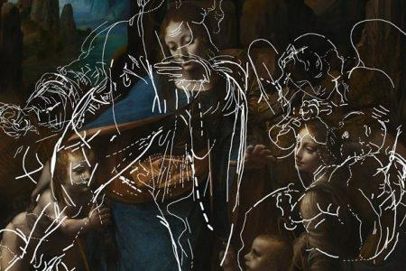 "London's National Gallery has uncovered hidden sketches, traced above, beneath Leonardo da Vinci's ""The Virgin of the Rocks"""
