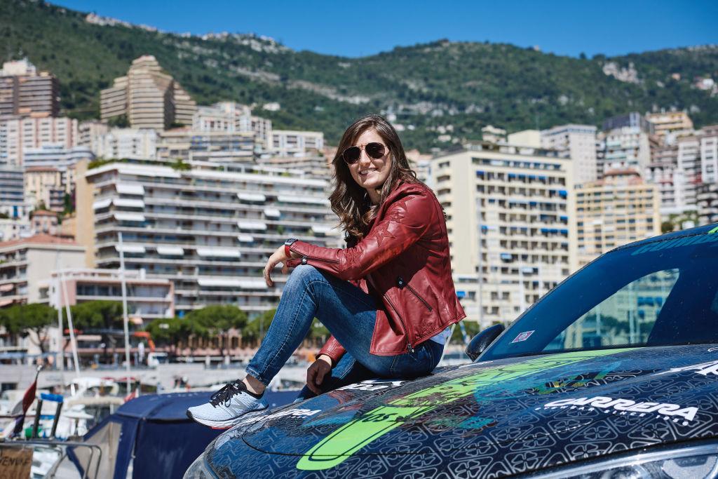 Tatiana Calderon, Alfa Romeo Racing F1 test driver in Carrera sunglasses is seen at Gumball 3000 MykonosvIbiza on June 13, 2019 in Monte Carlo, Monaco. (Photo by Guido De Bortoli/Getty Images for SAFILO)