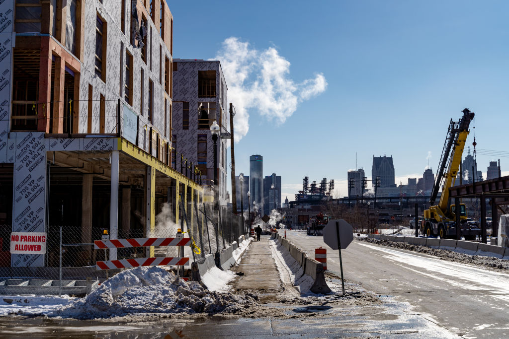 Construction of Bedrock Detroit's City Modern housing development in the Brush Park neighborhood adjacent to Downtown.  (Photo by Nick Hagen for The Washington Post via Getty Images)