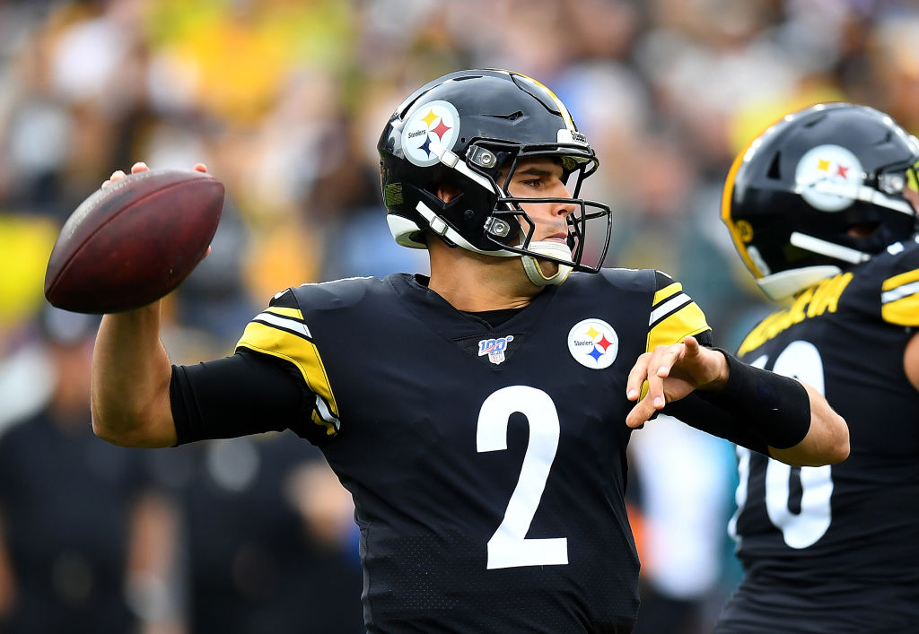 Mason Rudolph of the Pittsburgh Steelers looks to pass during the first quarter against the Baltimore Ravens at Heinz Field on October 6, 2019 in Pittsburgh, Pennsylvania. (Photo by Joe Sargent/Getty Images)