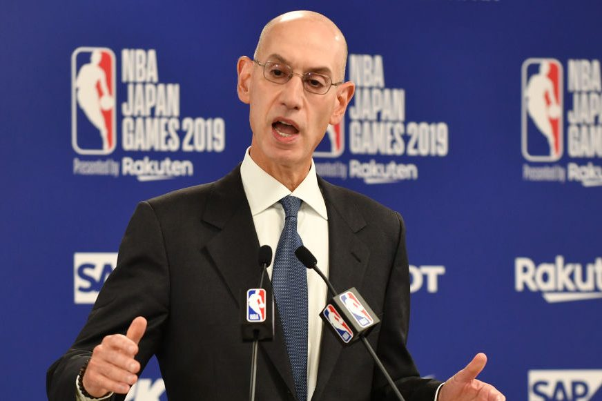 NBA commissioner Adam Silver at a press conference prior to the NBA Japan Games 2019. (KAZUHIRO NOGI/AFP via Getty)