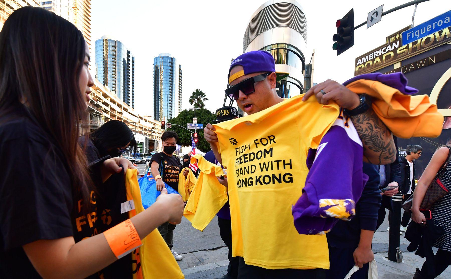 hong kong protest staples center
