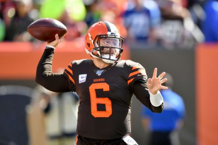 Quarterback Baker Mayfield of the Cleveland Browns passes during the first quarter against the Seattle Seahawks at FirstEnergy Stadium on October 13, 2019 in Cleveland, Ohio. (Photo by Jason Miller/Getty Images)