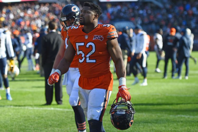 Khalil Mack of the Chicago Bears leaves the field following a game against the Los Angeles Chargers at Soldier Field on October 27, 2019 in Chicago, Illinois. (Photo by Stacy Revere/Getty Images)