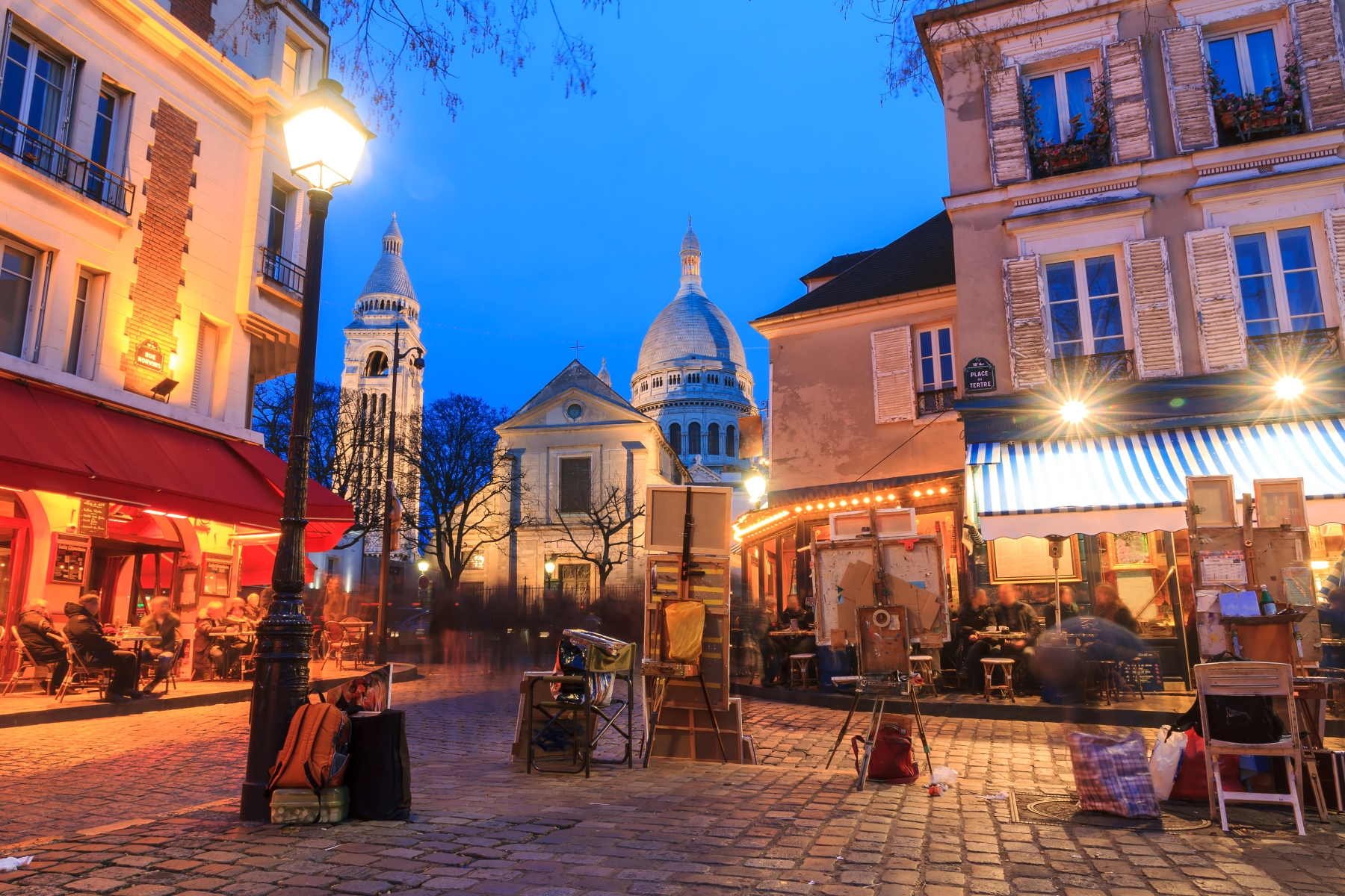 View of the Place du Tertre and the Sacre-Coeur in Paris.