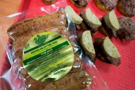 Hudson Valley Duck products, including some of their Foie Gras, is packaged December 15, 2017 at the Hudson Valley Duck Farm in Ferndale, New York.