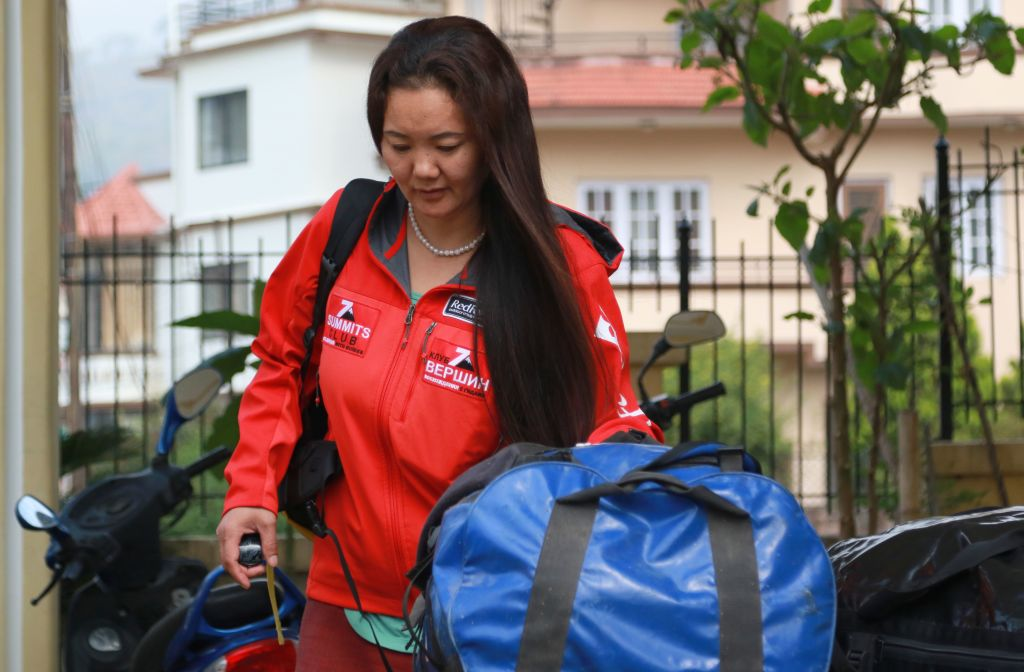 In this photograph taken on April 18, 2018, Nepali climber Lhakpa Sherpa prepares to leave for an expedition to Everest, in the Nepali capital Kathmandu.