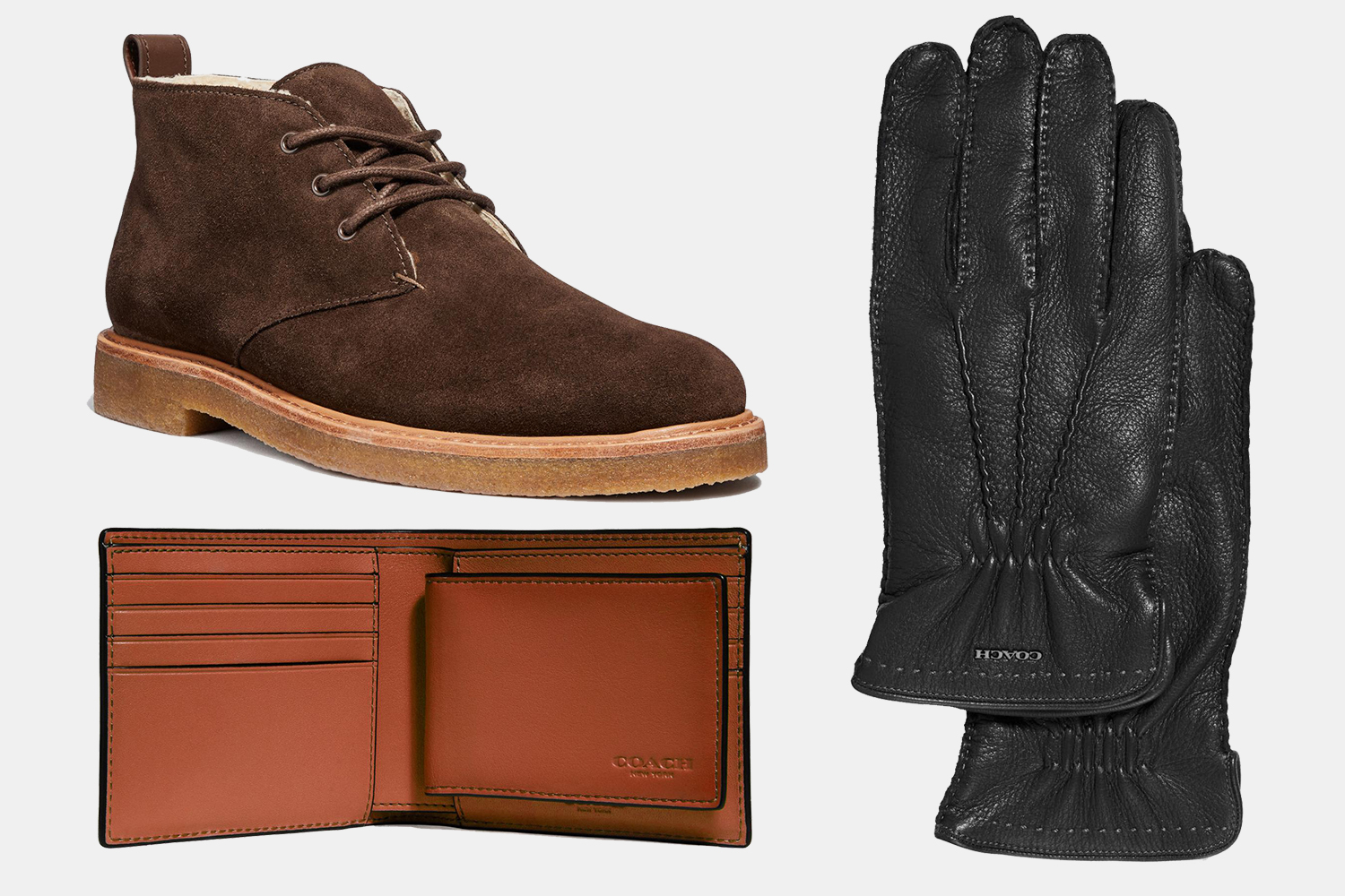 Coach Men's Boots, Wallets and Gloves
