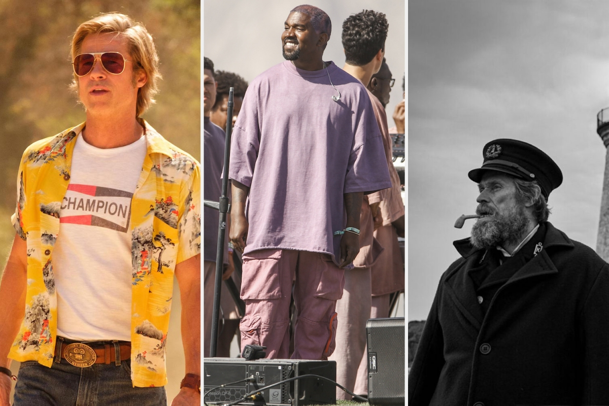 Brad Pitt as Cliff Booth, Kanye West at Sunday Service and Willem Dafoe in The Lighthouse