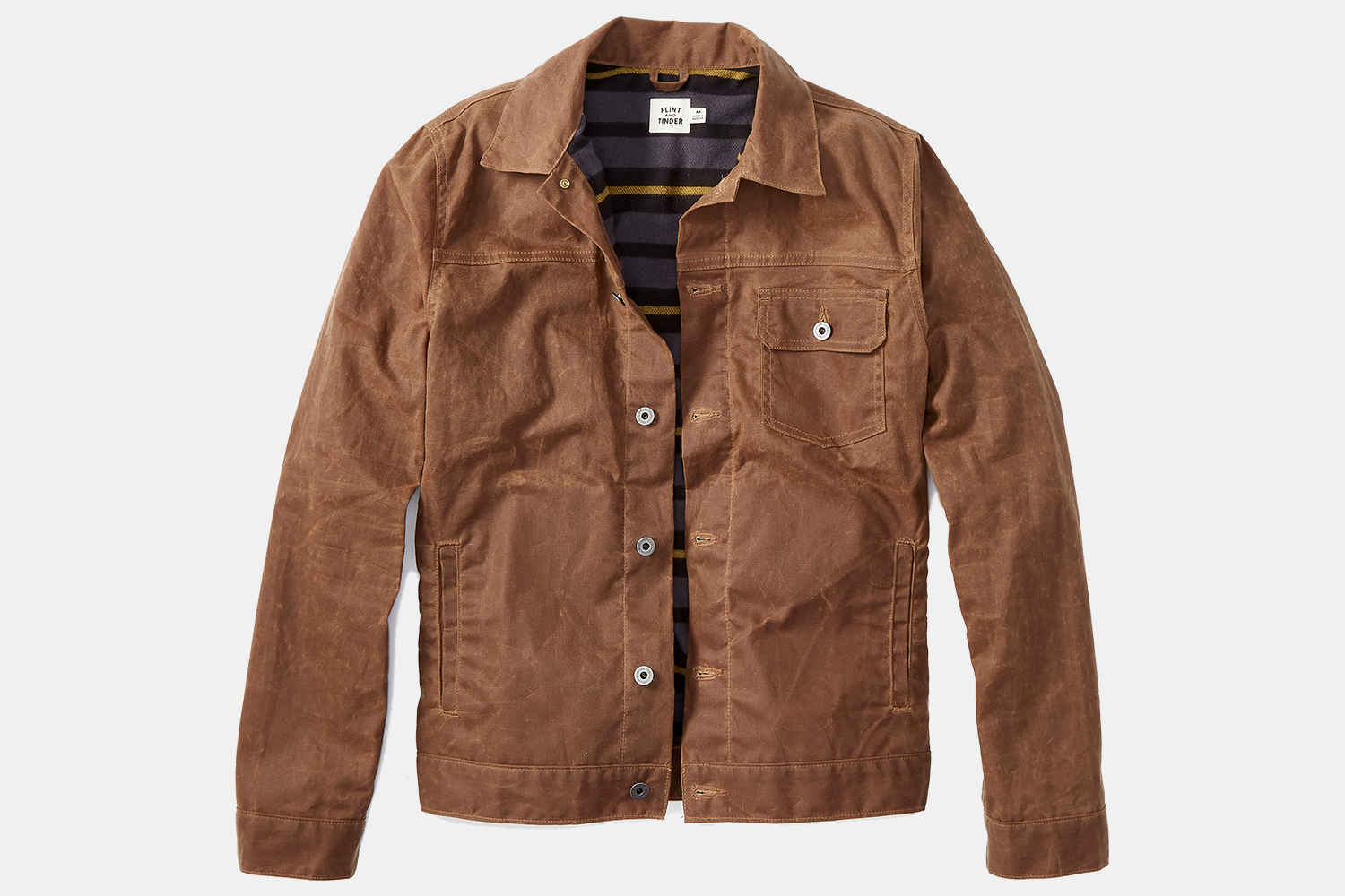 Flint and Tinder Flannel-Lined Waxed Trucker Jacket on Huckberry