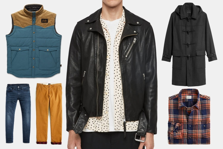 Men's leather jacket, coats, pants and shirts