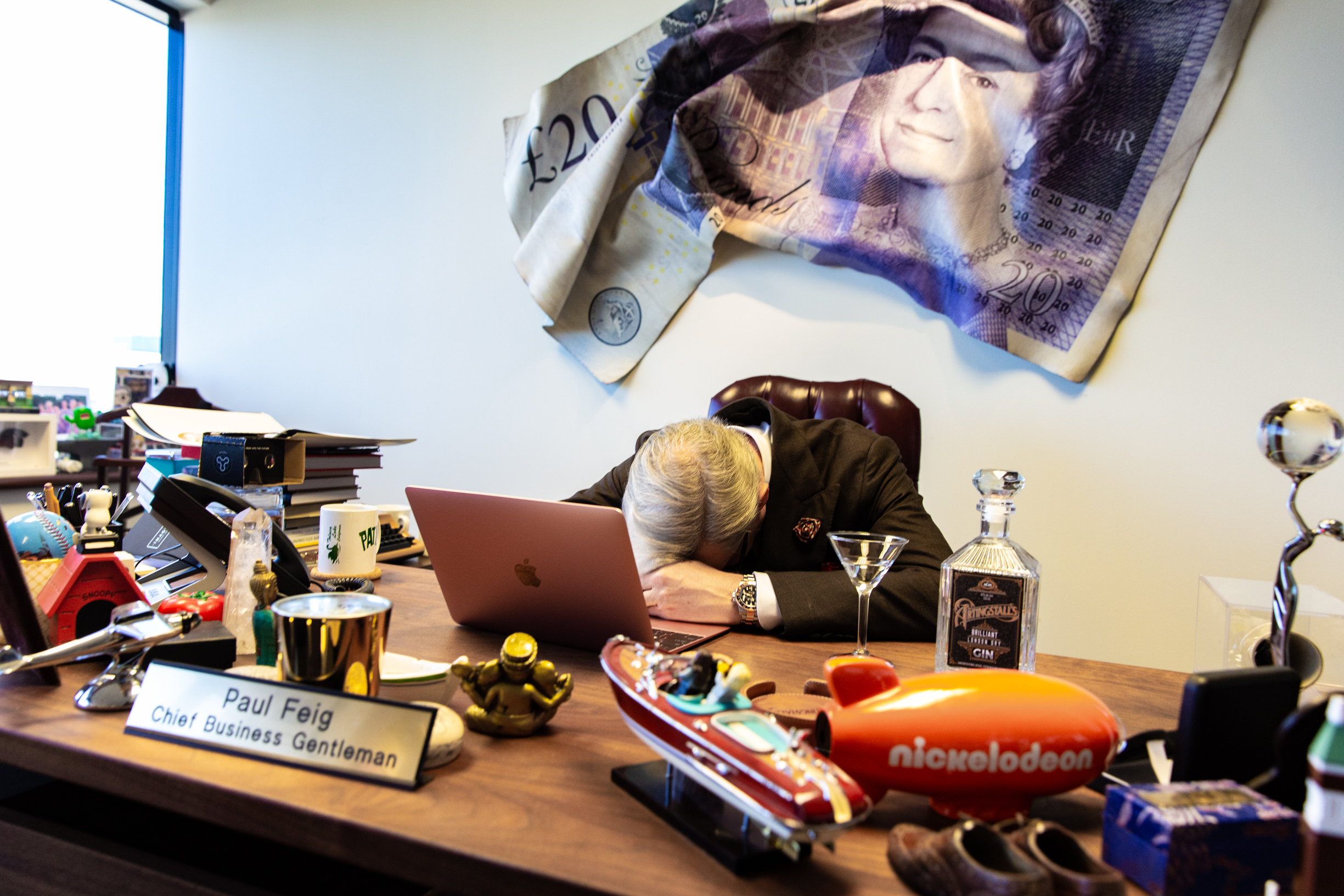 Paul Feig at his desk