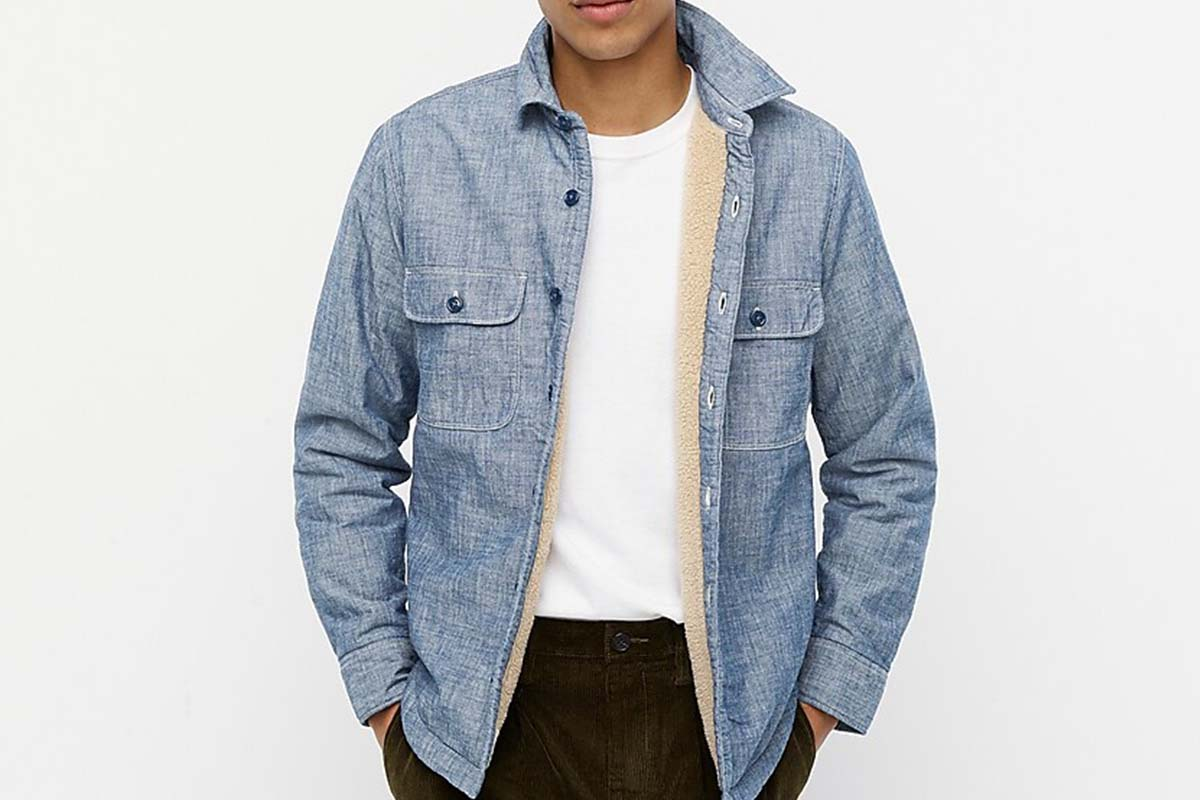 Japanese Chambray Shirt-Jacket with Sherpa Lining