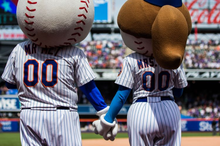Mr and Mrs Met hold hands during the seventh inning stretch during the game between the New York Mets and the Arizona Diamondbacks at Citi Field on Sunday May 20, 2018 in the Queens borough of New York City. (Photo by Rob Tringali/MLB via Getty Images)