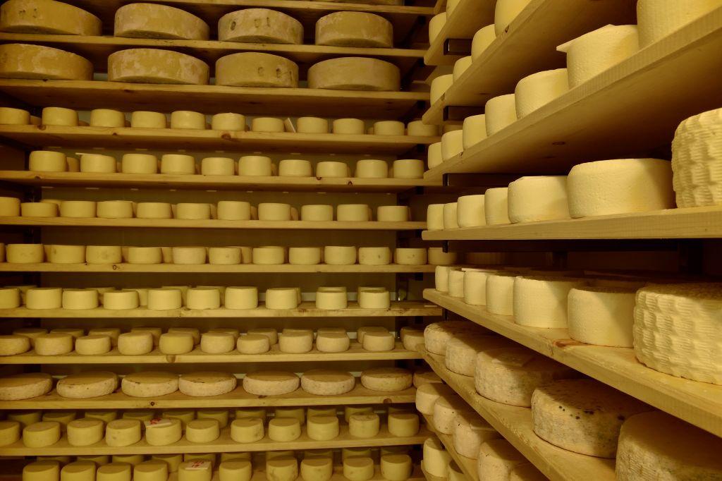 Casolet ripening room, traditional raw-milk cheese, Peio, Trentino-Alto Adige, Italy.