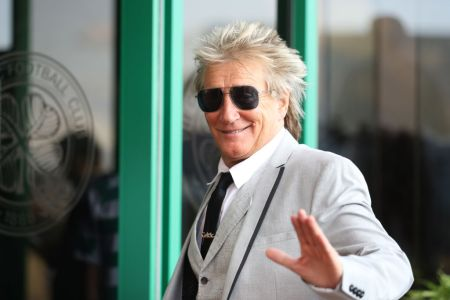 Rod Stewart is seen arriving during the UEFA Champions League, third qualifying round, second leg match between Celtic and CFR Cluj at Celtic Park on August 13, 2019 in Glasgow, Scotland. (Photo by Ian MacNicol/Getty Images)