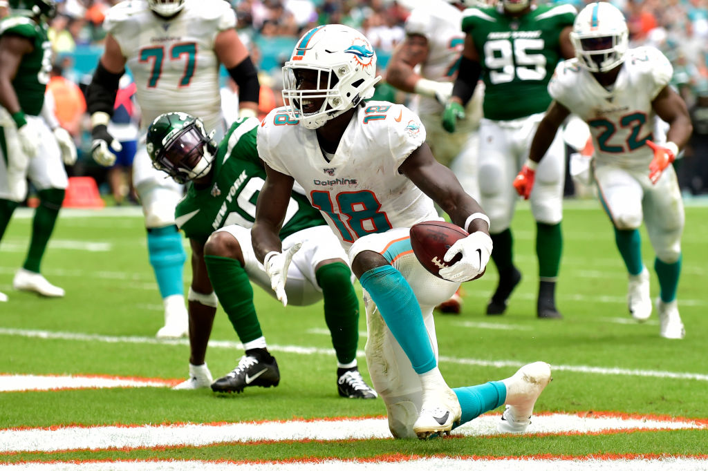 Preston Williams of the Miami Dolphins scores a touchdown in the second quarter against the New York Jets at Hard Rock Stadium on November 3, 2019 in Miami, Florida. (Photo by Eric Espada/Getty Images)