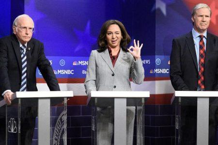 "Larry David, Maya Rudolph and Will Ferrell perform in ""Saturday Night Live""s Democratic debate sketch."