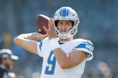 Matthew Stafford of the Detroit Lions warms up before the game against the Oakland Raiders at RingCentral Coliseum on November 03, 2019 in Oakland, California. (Photo by Lachlan Cunningham/Getty Images)